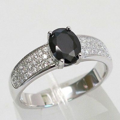 Glamorous 1.5 Ct Oval Cut Black Stone 925 Sterling Silver Ring Size 10