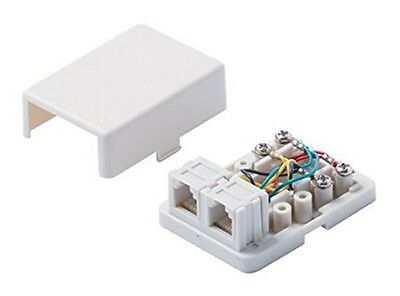 Steren 300-146WH White 4C Dual Telephone Surface Jack