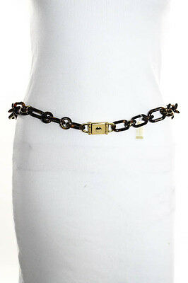Michael Kors Brown Gold Tone Acrylic Chain Link Belt One Size New $275