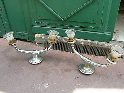 Pair of Lamps gas Bec gas Brass Nickel-plated Station Tulips patented United Old