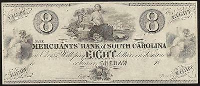 1800s $8 EIGHT DOLLAR BILL MERCHANTS BANK SOUTH CAROLINA OBSOLETE CURRENCY NOTE