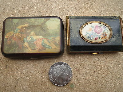 2 items 1 Vintage compact make up powder mirror gold tone vanity metal made in E