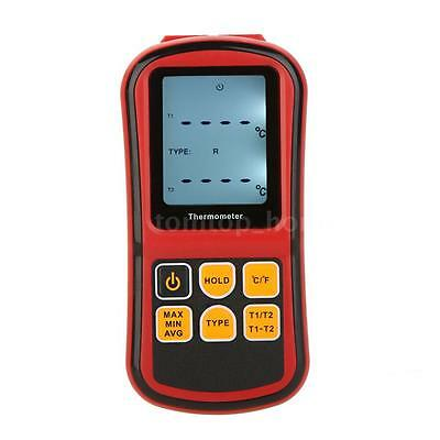 Digital Thermometer 2-Channel K/J/T/E/R/S/N Thermocouple Temperature Tester B0B2