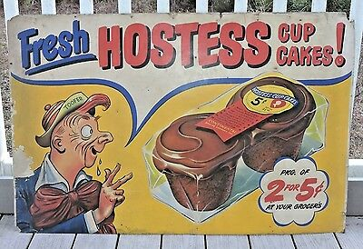 Hostess Cup Cakes 2 Huge Cardboard Store Display Signs 1930S Comic Character