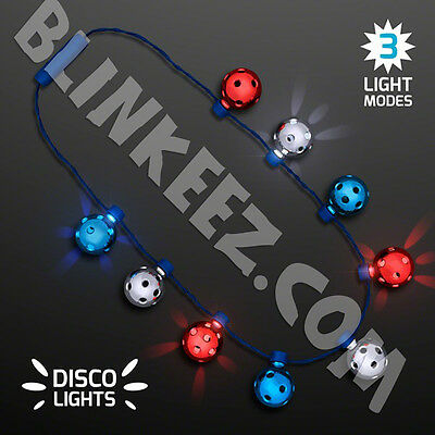 4Th Of July Led Flashing Disco Lights Party Fun Disco Necklace- Hot~
