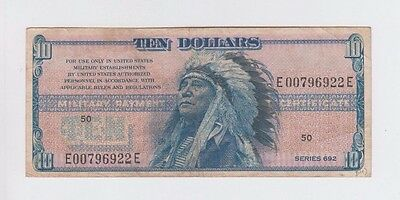Military Payment Certificates  $10 series 692 Indian Chief  fine+