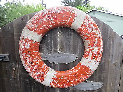 30 inch UGLY OLD CLOTH WRAPPED LIFE PRESERVER RING SAVER FLOAT BUOY BOUY (#99)