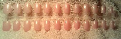 Hand painted Baby Pink with gold shimmer press on nails short square