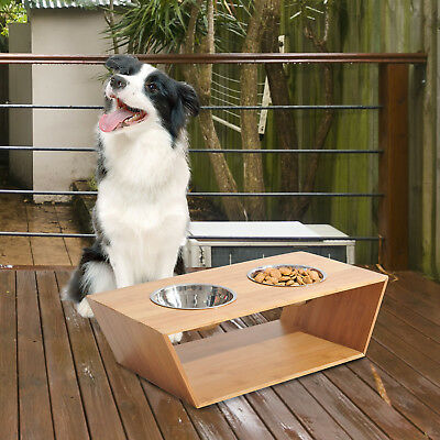 PawHut Pet Food Water Feeder 2 Bowls Stainless Steel Bamboo Raised Deluxe