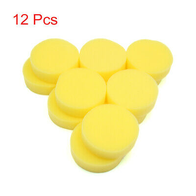12 Pcs Yellow Polish Wax Round Foam Sponges Applicator Pads for Auto Car