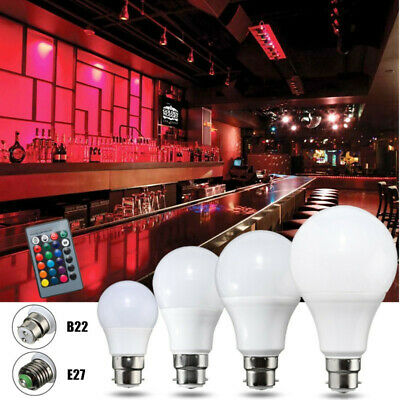 3/5/10/20W E27 B22 RGB LED Light Lamp Bulb 16 Color Changing + Remote Controller