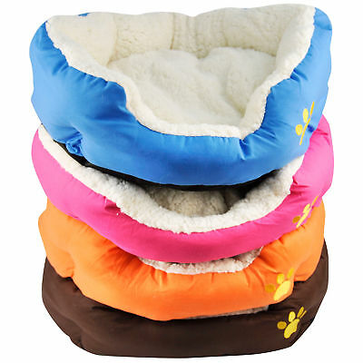 Soft Comfy Fabric Washable Dog Pet Cat Warm Basket Bed with Fleece Lining