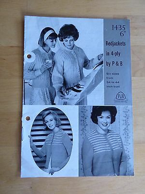 Vintage Knitting Pattern 50's, P&B 1435, 2 Bedjackets (= Cardigans), 4ply 34-44""