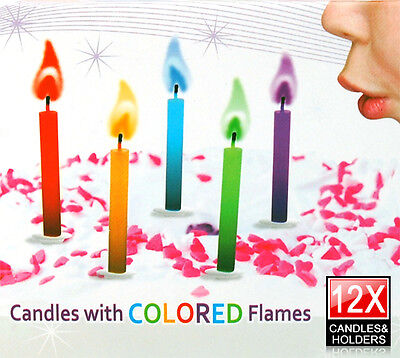12 x Multi Coloured Flame Birthday Cake Candles Angel Party Novelty Decorations