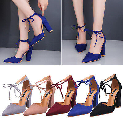 Women Casual Lace UP Chunky Block High Heels Sandals Pointed Toe Party Shoes