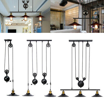 Retro Vintage Industrial Hanging Ceiling Light Pendant Retractable Pulley Lamp