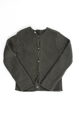 Bonpoint Girls Gray Cotton Button Down Cardigan Sweater Size 2