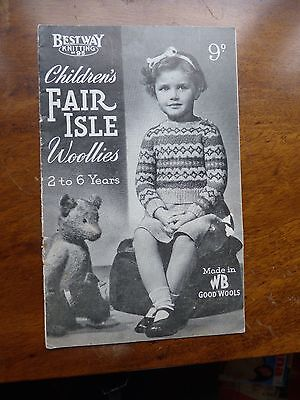 Vintage Knitting Pattern Booklet 40s, 8 Amazing Fair Isles for 2-6yrs, 3 ply
