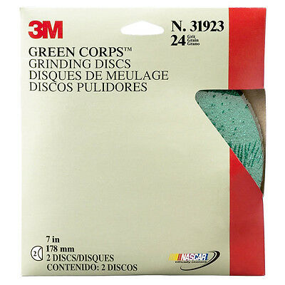 """3M 7"""" 24 GRIT Green Corps Sandpaper Grinding Discs 2 in a box 31923"""