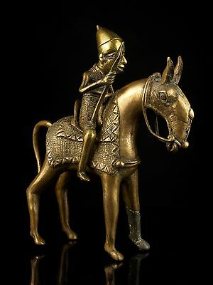 An Early 20th c. Benin Cast Brass Warrior Figure on Horseback.