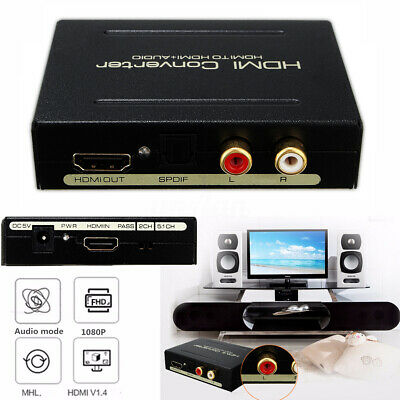 HDMI to HDMI & Optical SPDIF + RCA L/R 1080P 5.1CH Audio Extractor Converter 5V