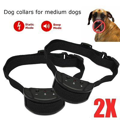 2X COLLARE ANTIABBAIO ADDESTRAMENTO ANTI ABBAIO BARK SHOCK STOPPER Per CANI CANE