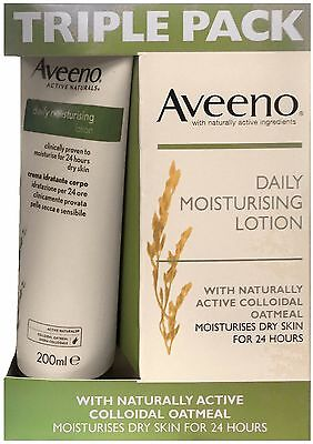 Aveeno Daily Moisturising Lotion (3 x 200ml) Naturally Active Colloidal Oatmeal