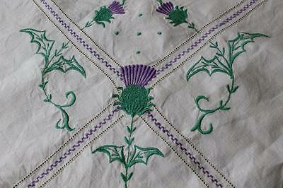 Vintage Embroidered Linen Tablecloth &  6 Napkins - Scottish Thistles