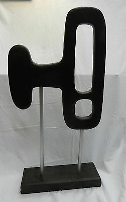 Large Abstract 1960s Retro Style Sculpture in Wood and Aluminium (B)