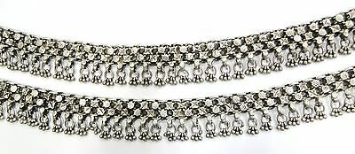 Antique Ethnic Tribal Old Silver Anklet Pair Belly Dance Rajasthan India