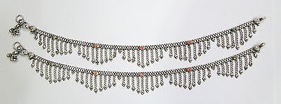 Vintage antique Ethnic Tribal Old Silver Anklet Pair Belly Dance Rajasthan India
