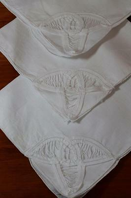 Vintage White Cotton Linen with Battenburg Lace Napkins x 3