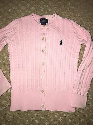 POLO RALPH LAUREN pink Cable Knit Cotton Cardigan Sweater Size Small 7