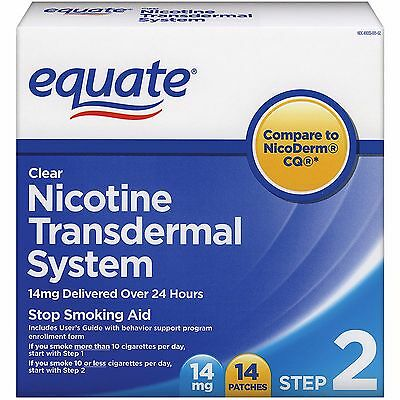 Equate Nicotine Transdermal System Step 2 Clear Patch 14mg 14 Patches SEALED