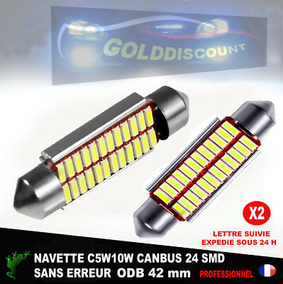 navette Led 42 mm c5w c10w  24 smd Canbus anti erreur odb  blanc pur 6000k