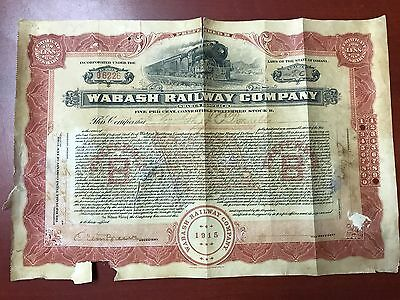 2 Wabash Railroad Stock Certificates, Tennessee Central & Allegheny Bond Coupons