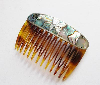 Vintage 50's Mother Of Pearl Inlaid Butterfdly Hair Comb Slide Barrette - France