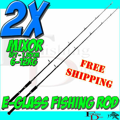 2 x MIXOR 5ft 150cm 2 SECTION PREMIUM SPINNING FISHING ROD -  KAYAK FISHING