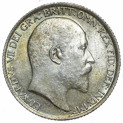 1910 Sixpence - Edward Vii British Silver Coin - Superb