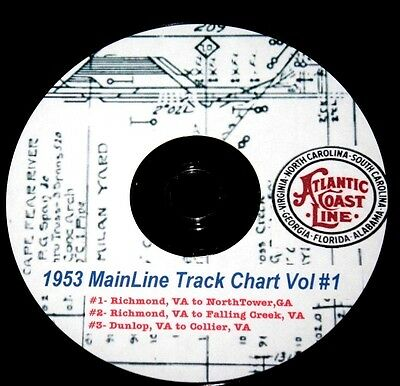 Atlantic Coast Line ACL 1953 Track Chart Pages Vol#1 on DVD