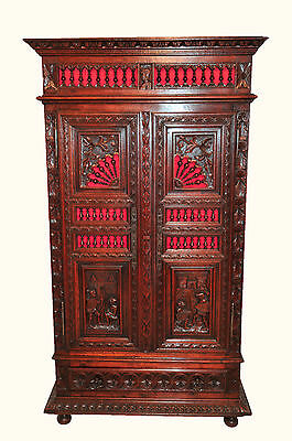 Antique French 2 Door Cabinet with Carved Battle Scene Art  SPECIAL Unique Model