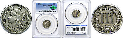 1885 Nickel Three Cent Piece PCGS XF-40 CAC