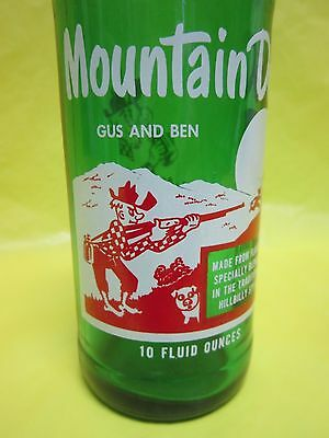 Mountain Mtn Dew Gus And Ben 1965 Hillbilly & Pig Glass Bottle By Pepsi Retro