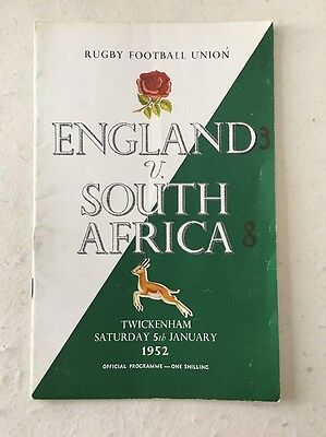 England v South Africa 1952 Rugby Union Programme