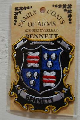 BENNETT Embroidered PATCH Coat of Arms Family Crest - Sew or Iron On