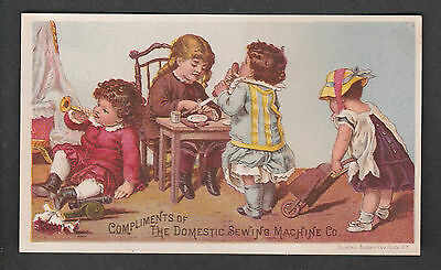 Victorian Trade Card Domestic Sewing Macine Co. Kids At Play