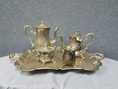 Vintage Silver Plated Serving Set - Tea Kettle Pot Sugar and Creamer and Tray