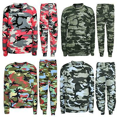 Kids Girls Lounge Suit Camouflage Jogsuit Top Bottom Loungewear Age 7-13 Years