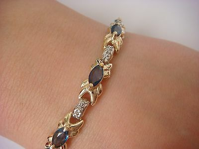 Impressive Genuine 4 Ct Sapphires And Small Diamonds 14K Gold Ladies Bracelet