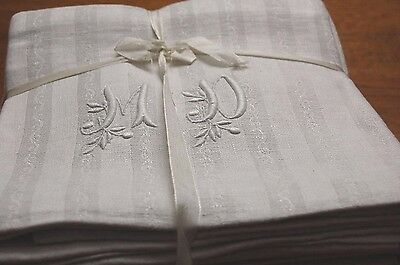 12 Antique French GIANT Linen Damask Napkins MD Monogrammed Banquet Size THICK